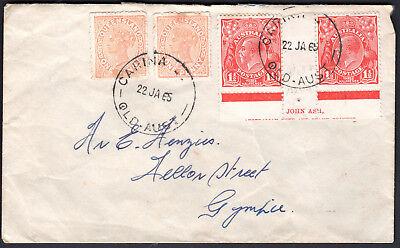 1965 QLD Queensland 1d QV & 1 1/2d KGV Red John Ash Imprint Cover CARINA GYMPIE