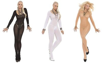 - Crotchless OPAQUE LONG SLEEVE Bodystocking O/S & PLUS