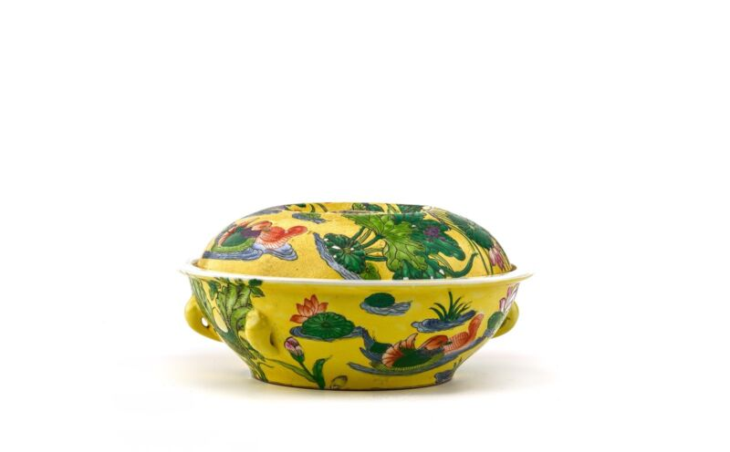 A Vintage Chinese Yellow Ground Enamel Porcelain Pot & Cover
