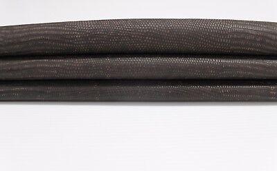 Italian CALF leather skin VINTAGE TAUPE BROWN LIZARD REPTILE EMBOSSED 5sqf -