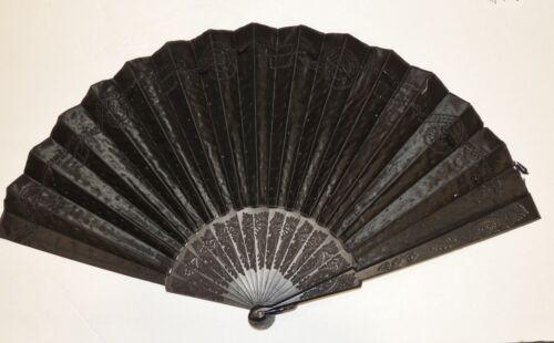 Victorian Large Black Silk Beaded Mourning Hand Fan w Carved Ebony Sticks