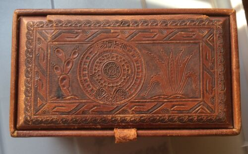Handmade Mexican leather jewelry box
