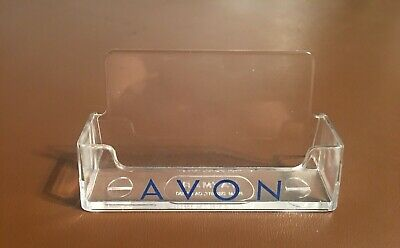 Avon Inscribed Clear Plastic Business Card Holder Material Keeper Display Stand