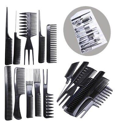 10Pcs Black Pro Salon Hair Styling Hairdressing Plastic Barbers Brush Combs -