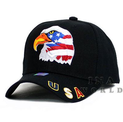 USA American Flag hat Stars and Stripes EAGLE Embroidered Baseball cap- Black