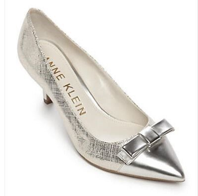 Women's AK Anne Klein Sport FLOUNCY Cap Toe Kitten Heels Dress Pumps  Silver Cap Toe Pumps