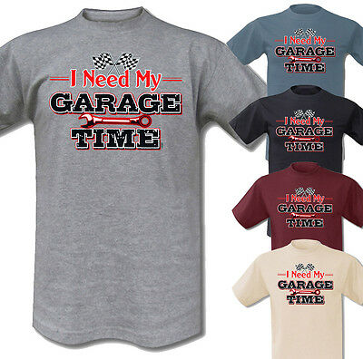 T-Shirt Garage Time Hot Rod Bobber Motorcycle Harley Triumph Vintage Race V8 Car online kaufen