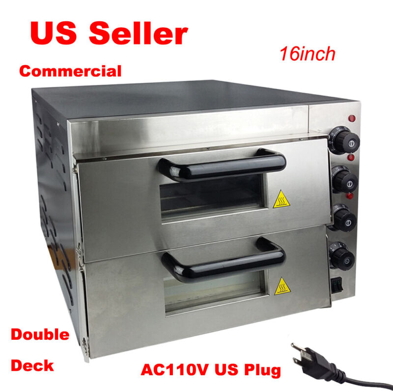 "New 110V 16"" Commercial Double deck Electric Pizza Oven Ceramic Stone"