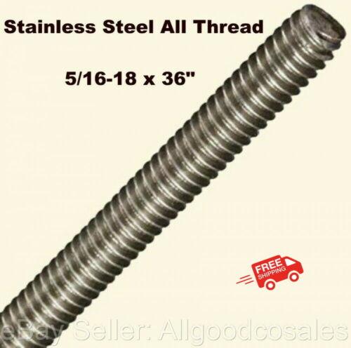 "Stainless Steel All Thread 5/16-18 x 36"" Threaded Rod Grade 304 3 Ft. Length"