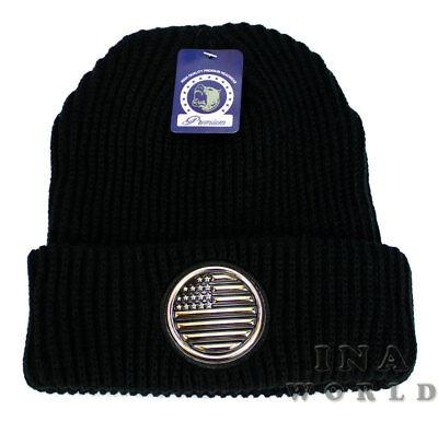 Stars Black Beanie - USA American Flag Beanie hat Stars and Stripes Flag Knit Cuffed Beanie cap-Black