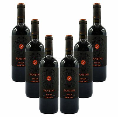 Farnese Fantini Puglia Primitivo 6er Set Rotwein aus Italien 6x 0,75L (14% Vol)