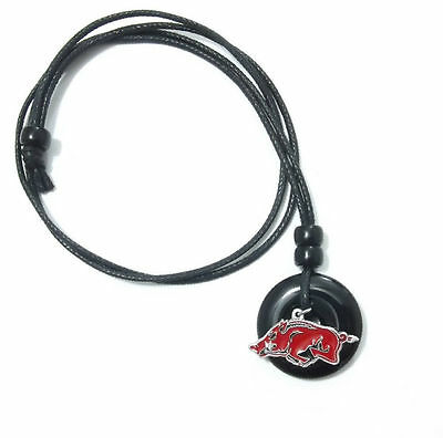 ARKANSAS RAZORBACKS PENDANT ONYX CORD NECKLACE 24303 college sports jewelry ()