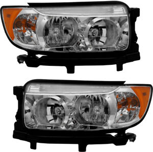 Headlights Headlight Embly Pair Set New For 2006 2007 2008 Subaru Forester