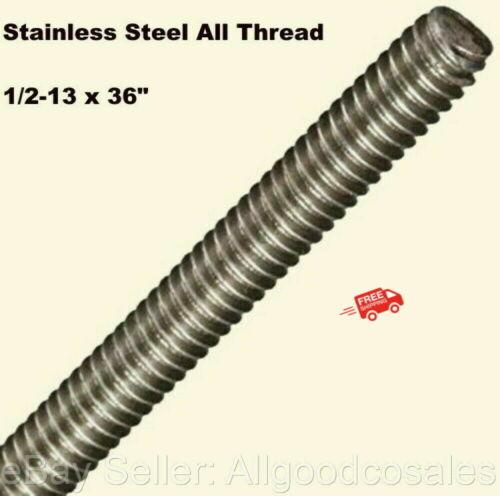 "Stainless Steel All Thread 1/2-13 x 36"" Threaded Rod Grade 304 3 Ft. Length"