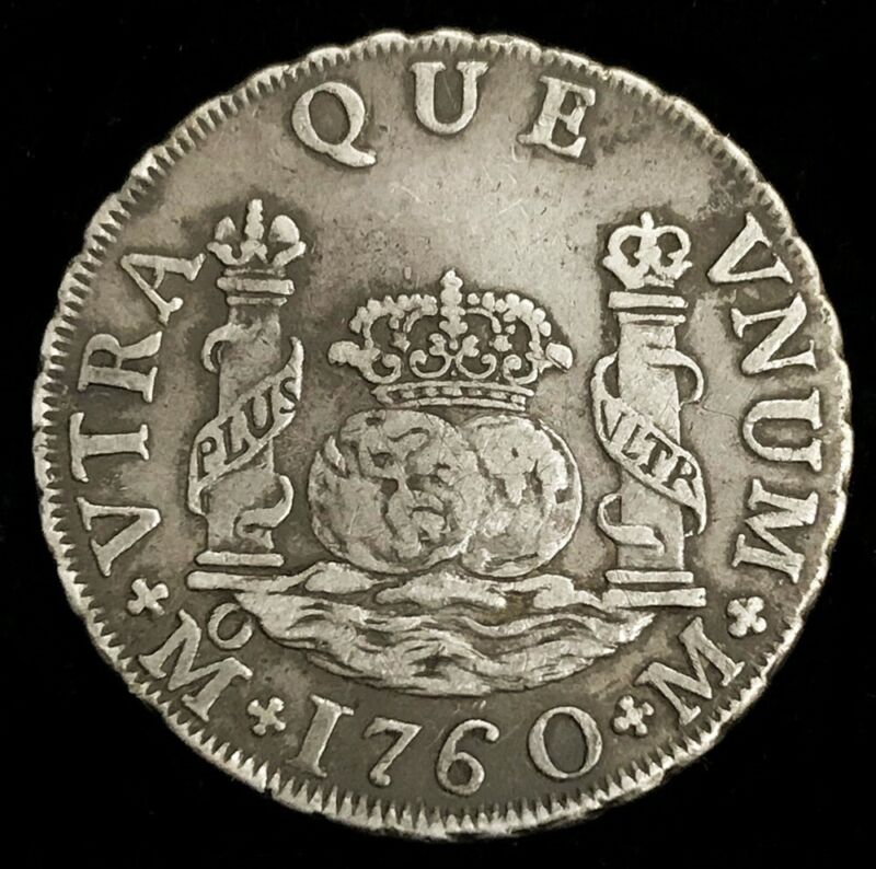 1760 M MO SILVER MEXICO 2 REALES PILLAR DOLLAR CHARLES III MEXICO CITY MINT