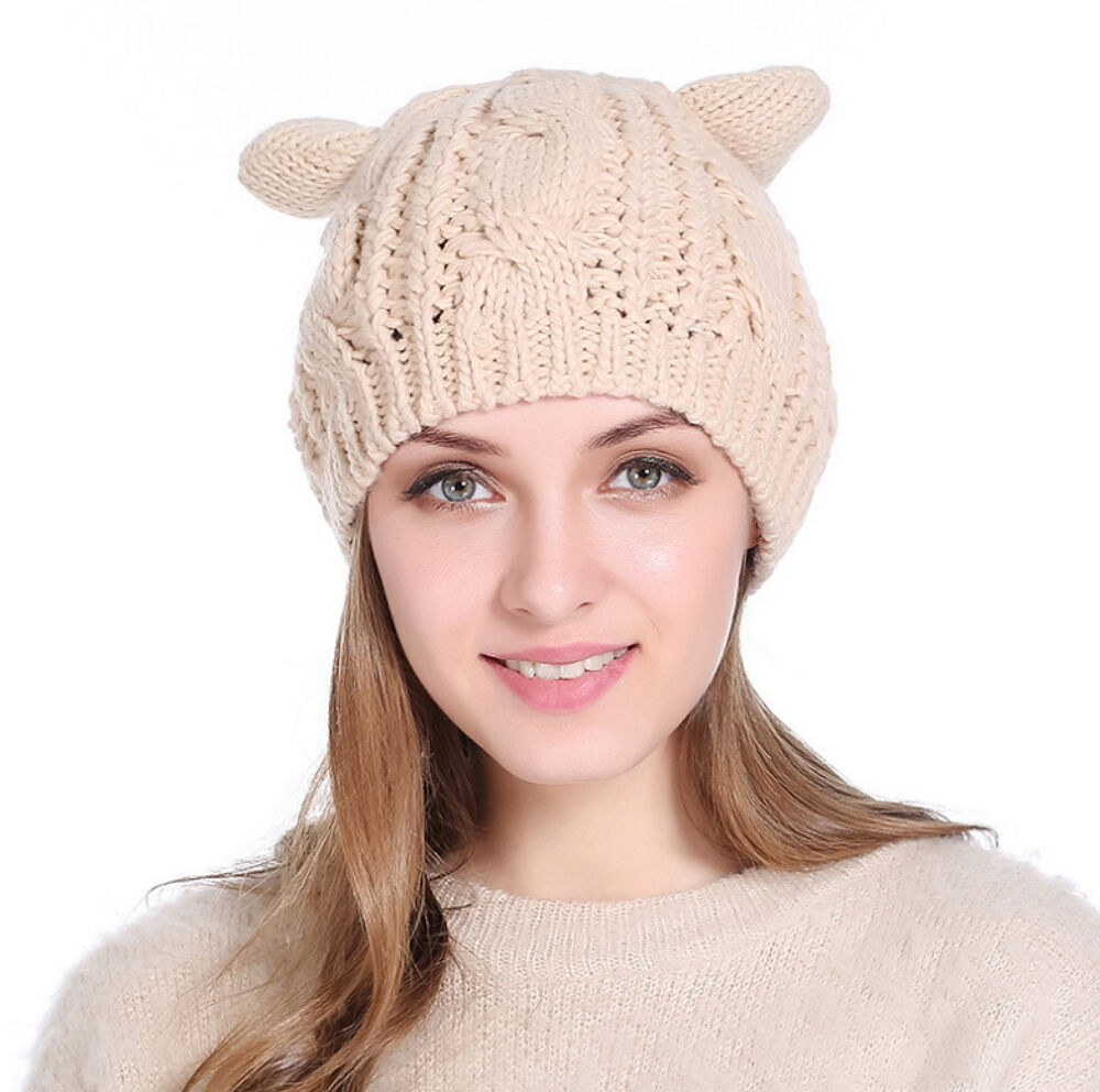 Women Winter Beanie Devil Horns Cat Ear Crochet Braided Knit Ski Wool Cap Hat Clothing, Shoes & Accessories