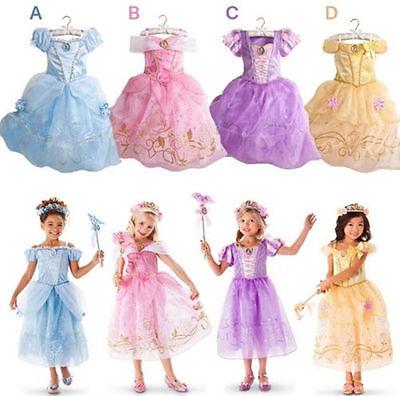 Princess Dress Fancy Kid Girl Costume Rapunzel Cinderelle Belle SnowWhite Party