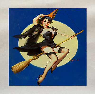 Halloween Witch Pin Up Girl Printed Fabric Panel Make A Cushion Upholstery Craft](Halloween Pin Up Girl Fabric)