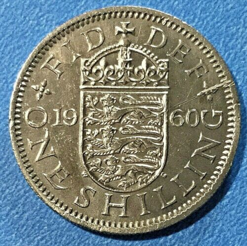 Vintage 1960 England Elizabeth II Crown English Shield of Arms 1 Shilling Coin