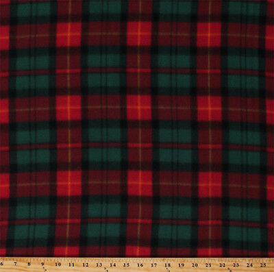Christmas Plaid Red Green Holiday Check Winter Fleece Fabric Print BTY A511.37 ()