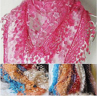 Knit Lace Shawls - Women Lady Lace Tassel Floral Knit Mantilla Scarf Shawl Wrap Accessories Gift