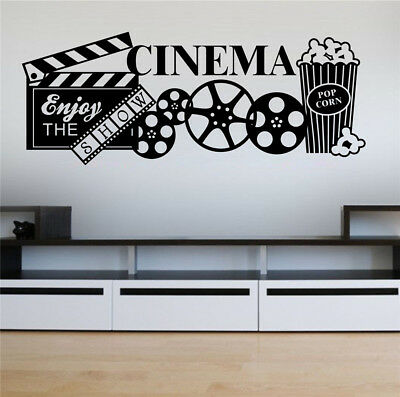 Home Cinema Theatre Popcorn Film Quote Wall Art Stickers Decals Vinyl Decor