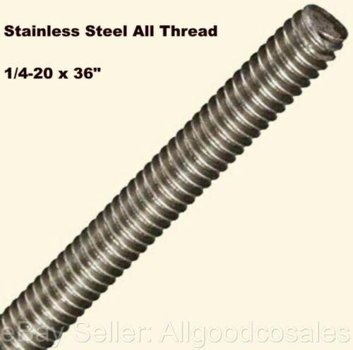 "Stainless Steel All Thread 1/4-20 x 36"" Threaded Rod Grade 316 3 Ft. Length"