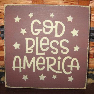 PRIMITIVE  COUNTRY GOD BLESS AMERICA mini  sq SIGN