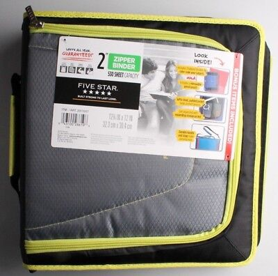 New Five Star Zipper Binder Tech Pocket 2 Yellow Black 12-34 X 12 Nwt