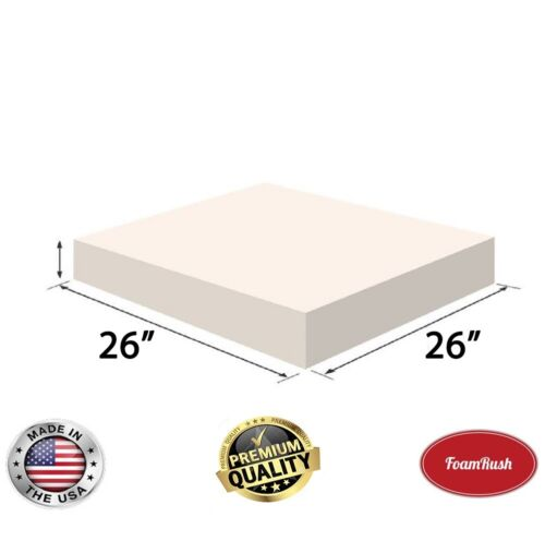 """26"""" X 26"""" High Density Upholstery Foam Cushion, Foam Rubber Seat Replacement"""