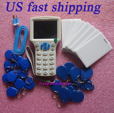 2018 English 10 Frequency Smart NFC IC ID Card RFID Copier Reader + 30 Cards Hot