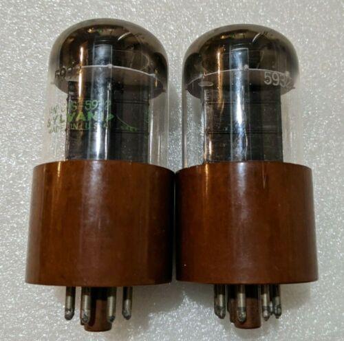Matched Pair Sylvania JAN-CHS-5932 / JAN CHS 5932 / 6L6 Tubes NOS Black Plate