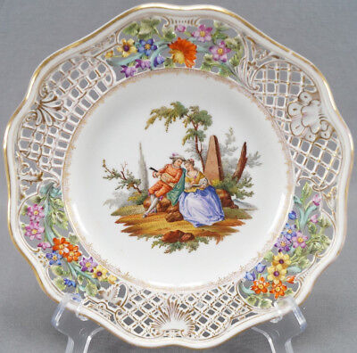 Meissen Dresden Hand Painted Reticulated Courting Couple Plate Circa 1886 - 1916