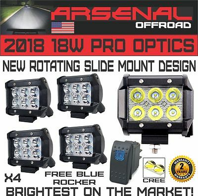 "New 2018 Design 4x 4"" ARSENAL OFFROAD INC TM 18W 6 CREE LED Brightest on the Mar"