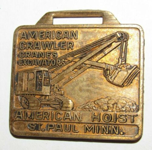 Vintage American Truck Cranes Hoist Crawler Watch Fob Medal St. Paul, MN