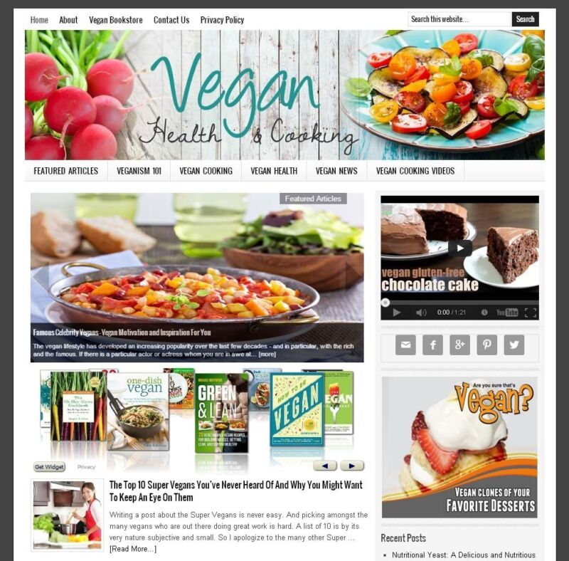 * VEGAN HEALTH & COOKING * blog website business for sale AUTO CONTENT UPDATES!