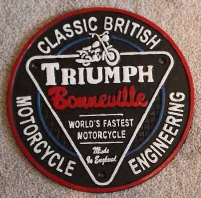Triumph Motorcycles Sign Cast Iron Vintage Style Repro British Motorcycles 22cm