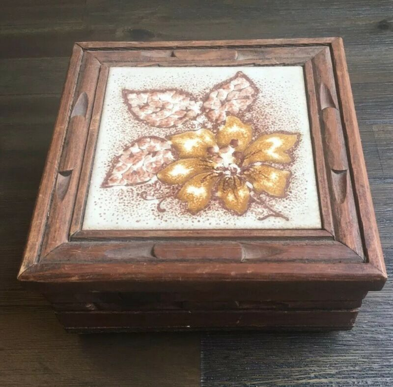 Vintage Mexican Tile Hand Carved Wood Jewelry Trinket Box