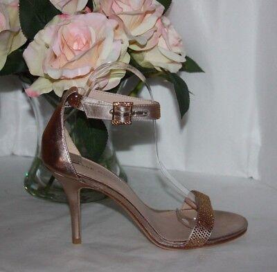 Pelle moda Kacey Platinum gold silk/metallic kid  heels Women's size 8 M  - Moda Silk Heels