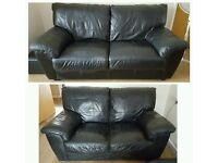 NEW BLK REAL LEATHER SOFAS CAN DELIVER FREEEE