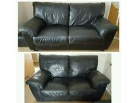 NEW BLACK REAL LEATHER SOFAS CAN DELIVER FREE
