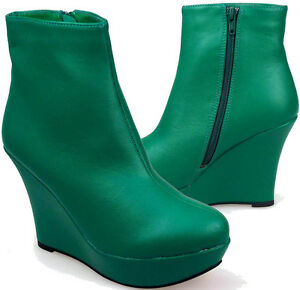 LADIES-WOMENS-BOTTLE-GREEN-WEDGE-PLATFORM-HIGH-HEEL-ANKLE-BOOT-ZIP-SIZE-3-8