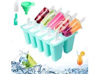 Ice Lolly Moulds 10 Cavities Ice Cream Silicone Popsicle Molds Set Lolly Makers