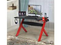 Red Black Gaming PC Computer Desk With Extras