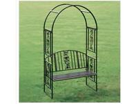 Metal bench with arch
