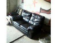 Black leather sofa. Free deliver