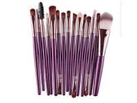 purple 15 piece make up brush set