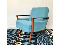 Vintage Retro Armchair Blue #634
