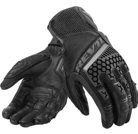 Rev'it! Sand 3 Black Motorcycle Trails Adventure Touring Vented Gloves Revit