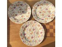 "3 Stunning Churchill Floral 10.25"" Plates"